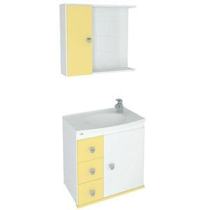 Kit Gabinete de Banheiro Com Espelho Sparta MDF e MDP Branco e Bone Sem Cuba Harpex