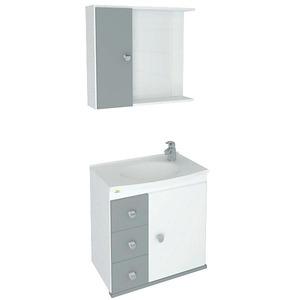 Kit Gabinete de Banheiro Com Espelho Sparta MDF e MDP Branco e Cinza Sem Cuba Harpex