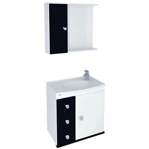 Kit Gabinete de Banheiro Com Espelho Sparta MDF e MDP Branco e Preto Sem Cuba Harpex