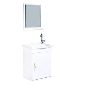 Kit Gabinete de Banheiro Com Espelho Verona MDF Branco Com Cuba A.J.Rorato