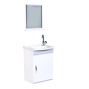 Kit Gabinete de Banheiro Com Espelho Verona MDF Cinza Claro e Branco Com Cuba A.J.Rorato