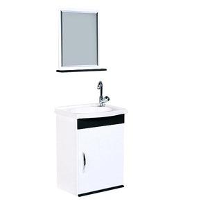 Kit Gabinete de Banheiro Com Espelho Verona MDF Preto e Branco Com Cuba A.J.Rorato