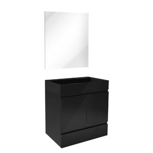 Kit Gabinete de Banheiro Versalhes 63,5x60x40cm Preto Venturi