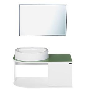 Kit Gabinete de Banheiro com Espelho Woodglass 75 MDF Branco/Verde com Cuba Titan Gabinetes