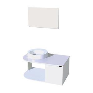 Kit Gabinete de Banheiro Com Espelho WoodGlass MDF Branco Com Cuba Titan