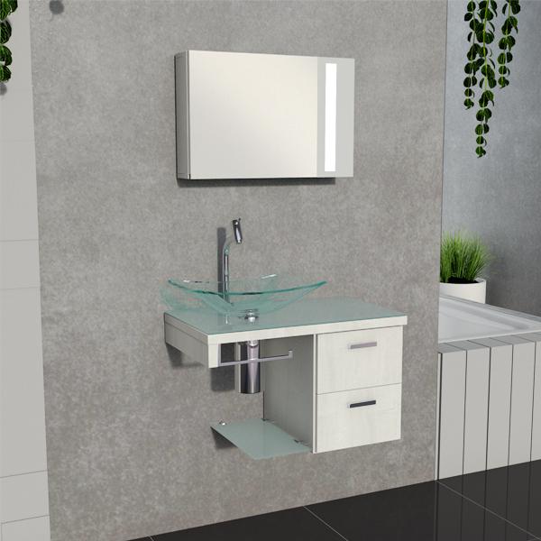 Kit Gabinete Para Banheiro Com Espelho Em Madeira E Vidro