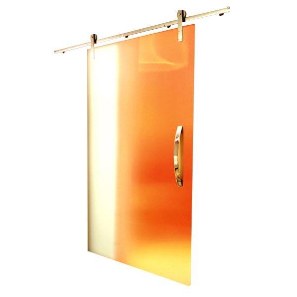 Kit porta de correr vidro 2m at 50kg inox escovado for Porta m