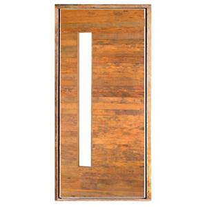 Kit de Porta Montada Pivotante Decorada de Madeira Peroba 2,10x1,10m SM Esquadrias
