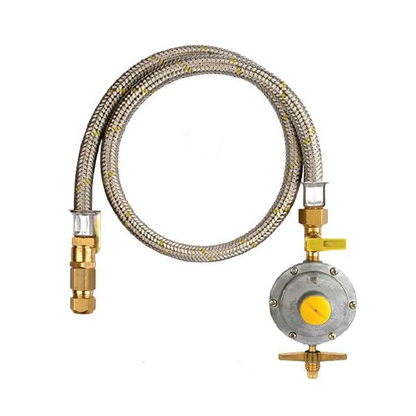 Kit registro para botij o de g s com mangueira de a o for Regulador de gas butano leroy merlin