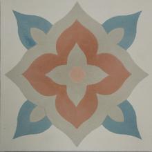 Ladrilho Hidráulico Decorativo Flor Bege e Rosa 20x20cm Cimartex