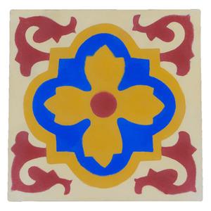 Ladrilho Hidráulico Flor Amarela/Azul 20x20cm Cimartex