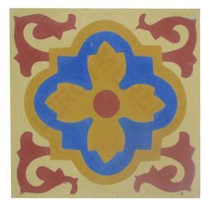 Ladrilho Hidráulico Flor Amarela/Azul 20X20cm Art Cores