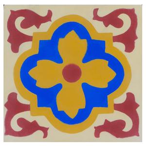 Ladrilho Hidráulico Flor Amarelo e Azul 20x20x1,9cm Cimartex