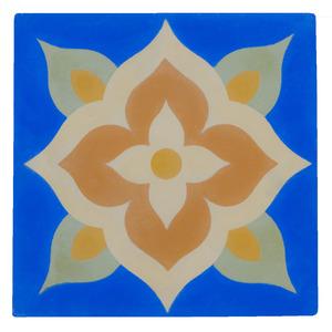 Ladrilho Hidráulico Flor Azul 20x20cm Cimartex