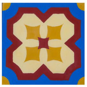 Ladrilho Hidráulico Flor de Lotus Azul 20x20x1,9cm Cimartex