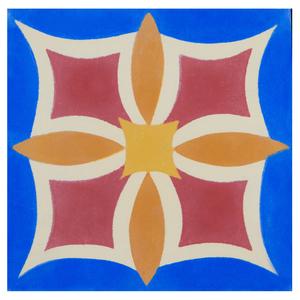 Ladrilho Hidráulico Flor de Maio Azul 20x20x1,9cm Cimartex