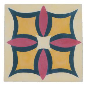Ladrilho Hidráulico Flor de Maio Bege 20x20cm Cimartex