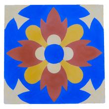 Ladrilho Hidráulico Flor Vermelha/Azul 20x20cm Cimartex