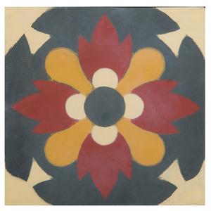 Ladrilho Hidráulico Flor Vermelho e Bege 20x20x1,9cm Cimartex