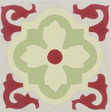 Ladrilho Hidráulico Flor Vermelho e Verde 20x20cm Cimartex