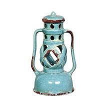 Lanterna Cerâmica Lamparina Redonda Azul Turquesa