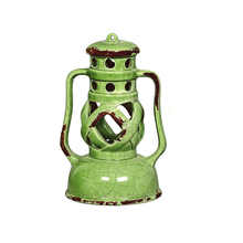 Lanterna Cerâmica Lamparina Redonda Verde