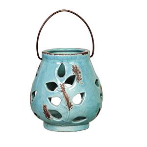 Lanterna Cerâmica Lampião Redonda Azul Turquesa