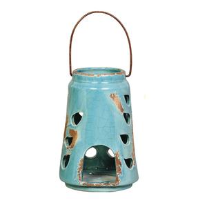 Lanterna Cerâmica Redonda Azul Turquesa