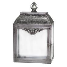 Lanterna Decorativa Quadrada Prata 40,5cm