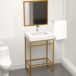 Lavatório 88x60x45cm Branco E Dourado Metal E Pedra Iron Venturi