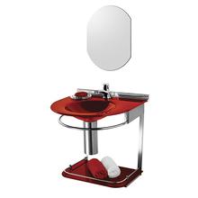 Lavatório com Espelho Cris-Mold 46x50x62,50cm Vermelho Cris Metal