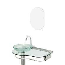 Lavatório Glass com espelho 45,50x70x34cm Incolor Cris Metal
