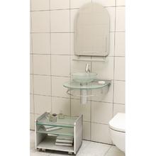 Lavatório Incolor e Cromado 45,50x50x34cm Glass Cris Metal