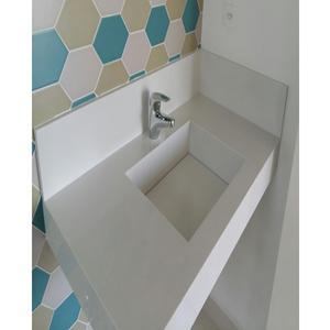 Lavatório Elegance Mármore 70x40x15cm Branco Pedras Feital