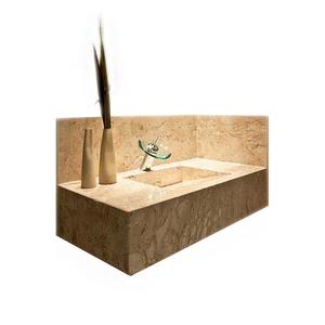 Lavatório Elegance Mármore 70x40x15cm Travertino Pedras Feital