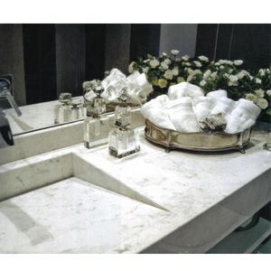 Lavatório Elegance Mármore 80x50x15cm Branco com Rajado Cinza Pedras Feital