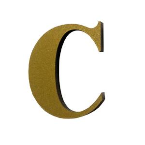 "Letra  ""C"" 4cm Acrílico Ouro Kami Acrílicos"