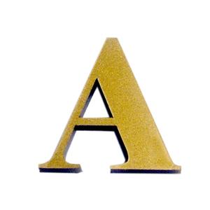 """Letra """"A"""" 4cm Acrílico Ouro Kami Acrílicos"""