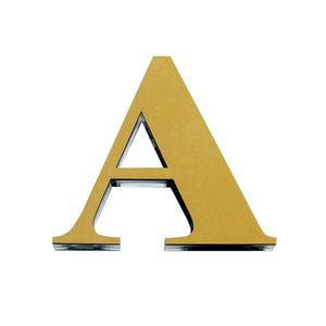 """Letra """"A""""  11cm Acrílico Ouro Kami Acrílicos"""