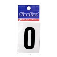 Letra Autoadesiva Número 0 5 cmx2,5 cm Cantos retos Sinalize