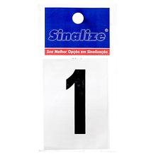 Letra Autoadesiva Número 1 5 cmx2,5 cm Cantos retos Sinalize