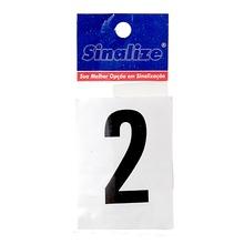 Letra Autoadesiva Número 2 5 cmx2,5 cm Cantos retos Sinalize
