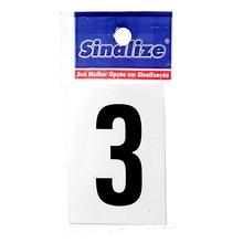 Letra Autoadesiva Número 3 5 cmx2,5 cm Cantos retos Sinalize