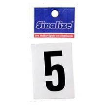 Letra Autoadesiva Número 5 5 cmx2,5 cm Cantos retos Sinalize