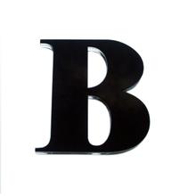 "Letra ""B"" 11cm Acrílico Preto Kami Acrílicos"