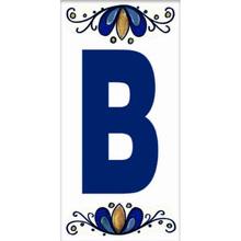 Letra B em Cerâmica Branca e Azul Gabriella