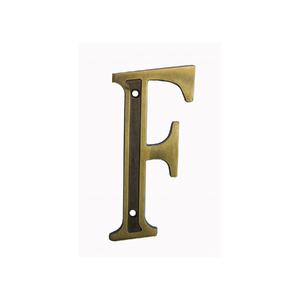 """Letra Casa """"F"""" 13cm Zamac Parafusar Dourado"""