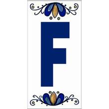 Letra F em Cerâmica Branca e Azul Gabriella
