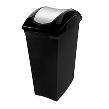 Lixeira Basculante Plástico Preto Slim 70L Sanremo
