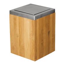 Lixeira de Banheiro Chão 5,4L Inox Prata e Rústico Madeira Importado